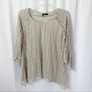 New Directions Beige Gold Metallic Lace Top